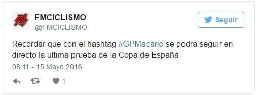 Tweet de la Federación Madrileña de Ciclismo