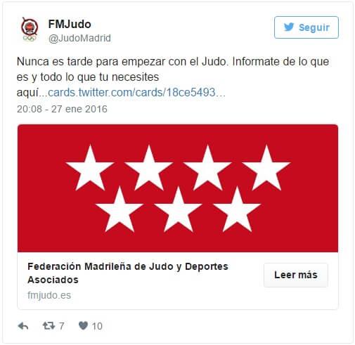 Tweet de la Federación Madrileña de Judo