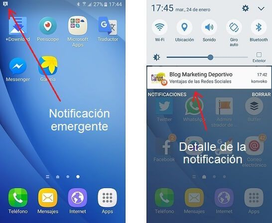 Notificaciones en Konvoko