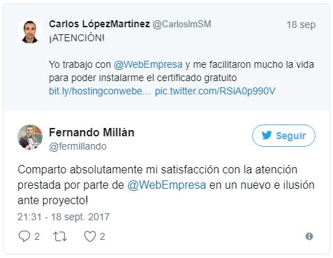Tweet de Fernando opinando sobre Webempresa