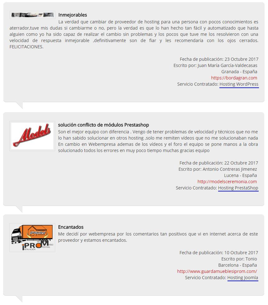 Opiniones de clientes de Webempresa