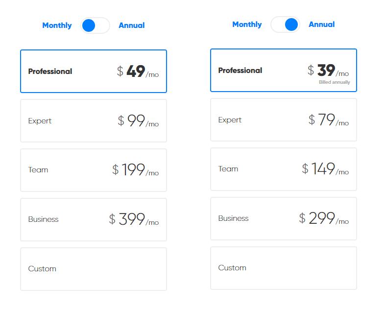 Precios anuales y mensuales Rocketium