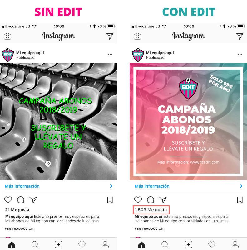 Diseño club de futbol con EDIT