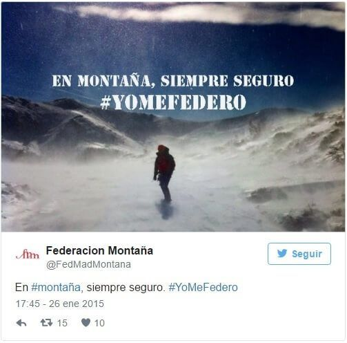 Tweet de la Federación Madrileña de Montaña