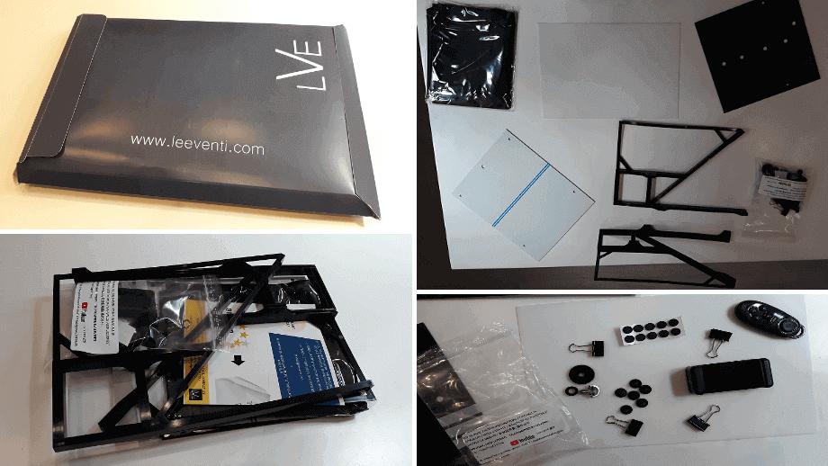 kit teleprompter Leeventi con control remoto